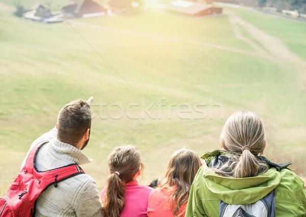 Large family having trekking vacation day in switzerland mountai Stock photo © DisobeyArt