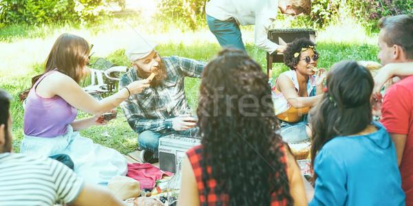 Stockfoto: Groep · vrienden · picknick · barbecue · outdoor