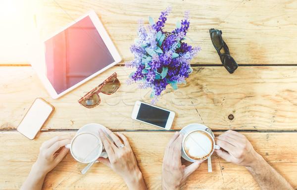 Coppia amanti bere caffè ristorante Foto d'archivio © DisobeyArt