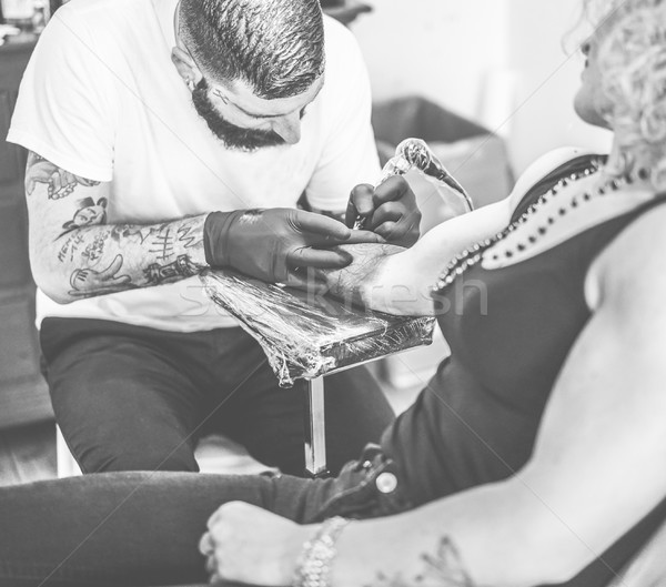 Photo stock: Professionnels · barbu · tatouage · artiste · propre
