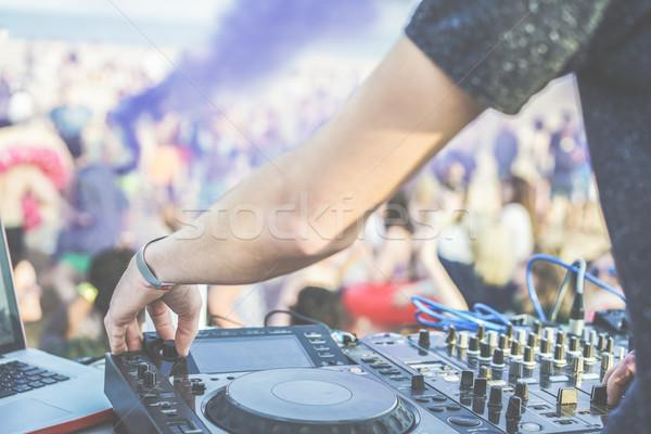 Discoteca festa praia ao ar livre discotecário jogar Foto stock © DisobeyArt