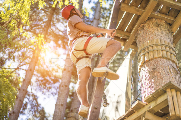 Young hiker climbing wood tree at adventure park in summer vacat Stock photo © DisobeyArt