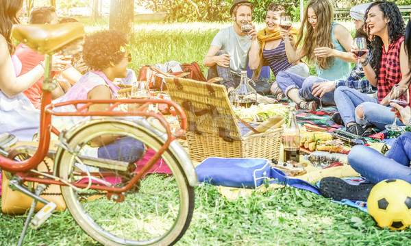 Diverse culture friends making picnic on city park outdoor - You Stock photo © DisobeyArt