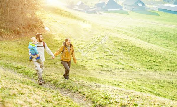 Szczęśliwą rodzinę mały dziecko spaceru Szwajcaria górskich Zdjęcia stock © DisobeyArt