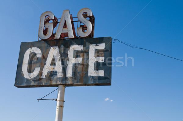 Stockfoto: Gas · cafe · oude · teken · tankstation · restaurant