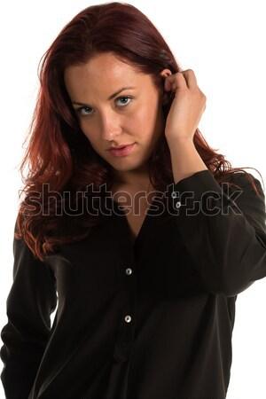 Brunette lang naakt zwarte shirt meisje Stockfoto © disorderly