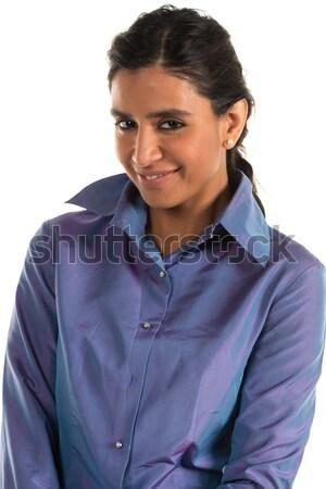 Mavi bluz güzel Hint kadın Stok fotoğraf © disorderly