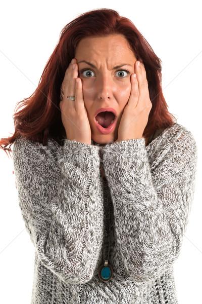 Szürke pulóver csinos nő lány szépség Stock fotó © disorderly