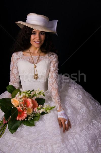 белый платье довольно женщину кружево девушки Сток-фото © disorderly