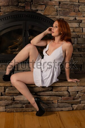Kant blouse mooie vrouw naakt meisje Stockfoto © disorderly