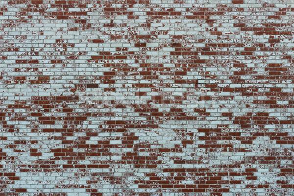 Téglafal részben fedett fehér festék Stock fotó © disorderly