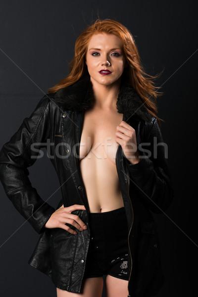 Güzel genç çilli deri ceket şort Stok fotoğraf © disorderly