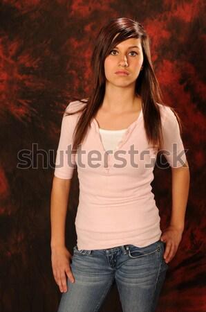 Vermelho bastante mulher loira curto Foto stock © disorderly