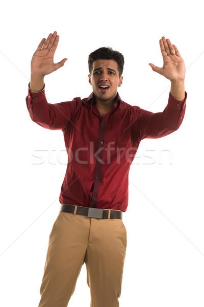 Przestraszony człowiek przystojny młodych indian piękna Zdjęcia stock © disorderly