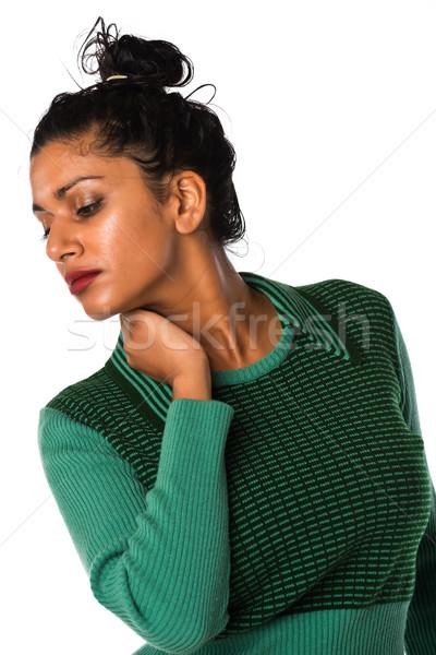 Indiai gyönyörű fiatal nő klasszikus pulóver Stock fotó © disorderly