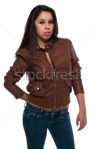 Bruin leder mooie jonge meisje Stockfoto © disorderly