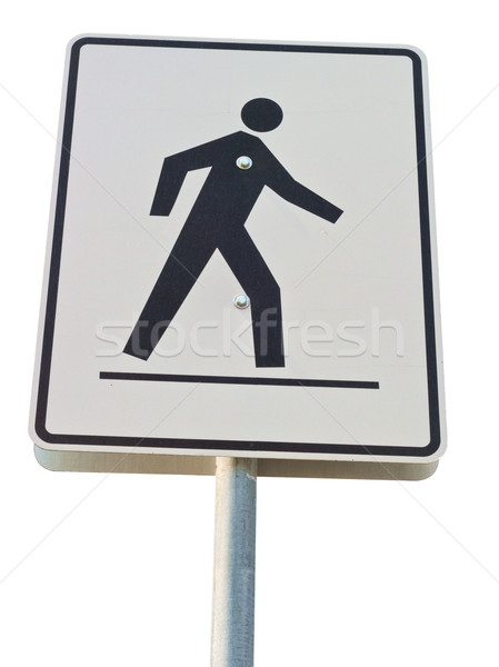 Voetganger straat teken metaal paal teken Stockfoto © disorderly