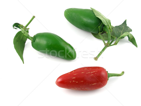 Red & green jalapeno peppers Stock photo © disorderly