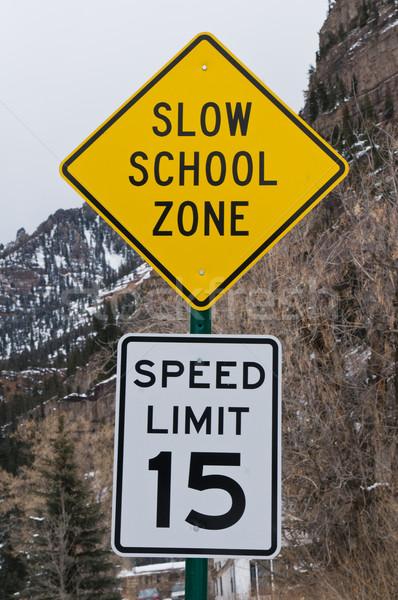Feliratok iskola sebesség út fém Stock fotó © disorderly