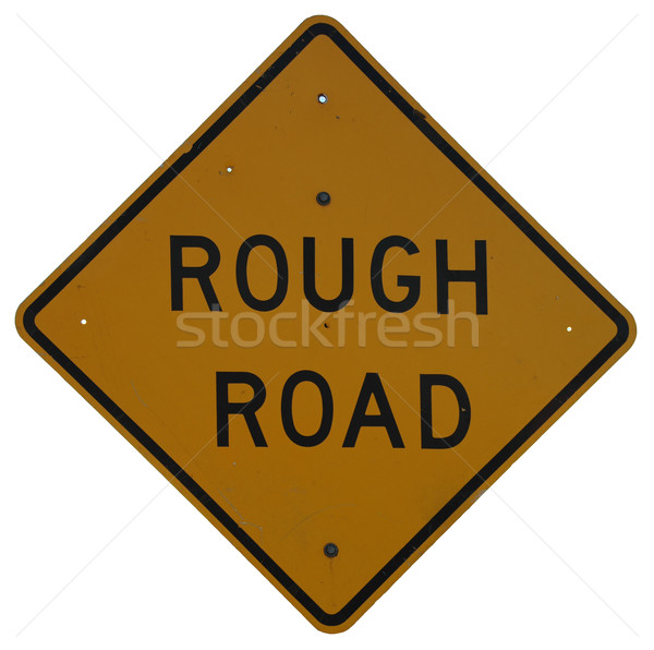 Stockfoto: Ruw · weg · verkeersbord · metaal · teken