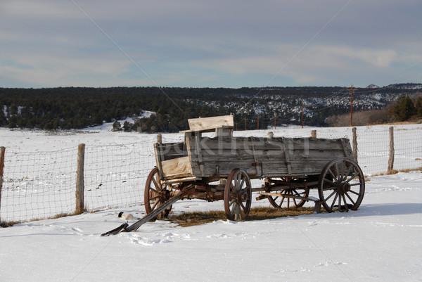 ワゴン 古い 公園 ユタ州 空 雪 ストックフォト © disorderly