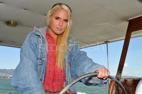 Belo roda lancha mulher água Foto stock © disorderly