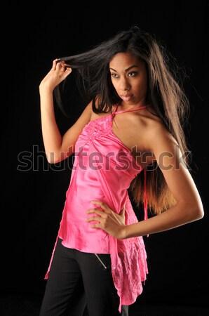 Długie włosy długowłosy ciemne piękna czarny dziewczyna Zdjęcia stock © disorderly