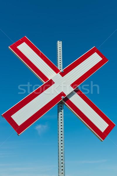 Vasút felirat kék ég piros Stock fotó © disorderly