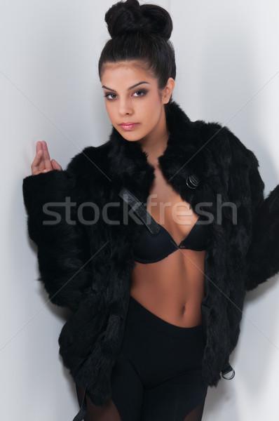 Todo negro hermosa jóvenes mujer nina Foto stock © disorderly