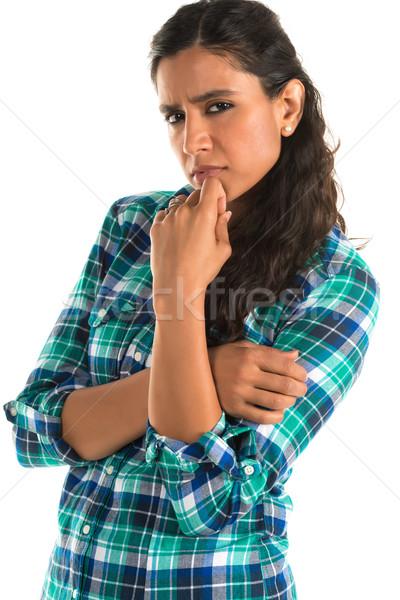 Kockás póló gyönyörű magas indiai nő Stock fotó © disorderly