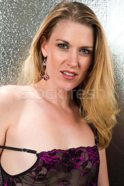Güzel mor siyah kadın portre Stok fotoğraf © disorderly