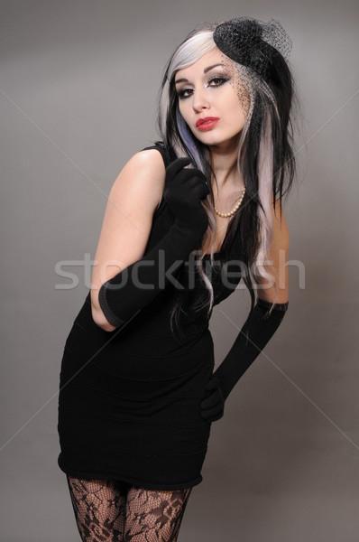 Goth kız güzel saç bağbozumu siyah elbise Stok fotoğraf © disorderly