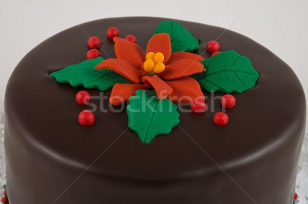 торт богатых темный шоколад украшенный Рождества цветок Сток-фото © disorderly