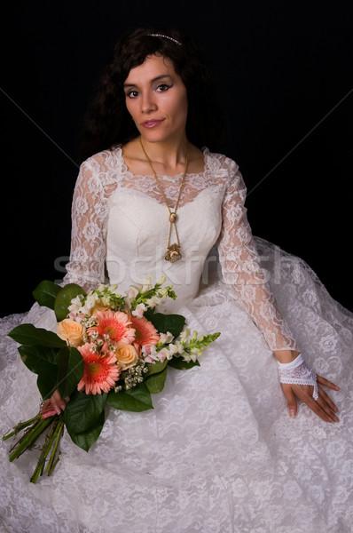 Witte toga mooie vrouw kant meisje Stockfoto © disorderly