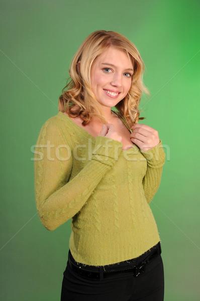 Tinédzser csinos szőke nő zöld pulóver fekete Stock fotó © disorderly
