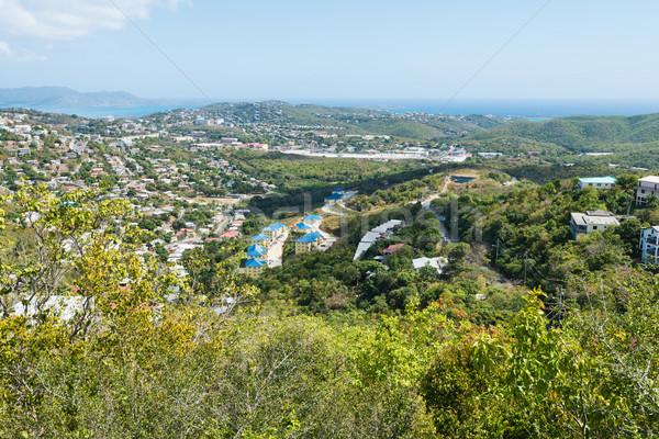 глядя из Виргинские о-ва пейзаж острове домах Сток-фото © disorderly