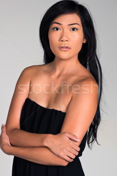Stockfoto: Filipina · mooie · jonge · zwarte · jurk · meisje · sexy