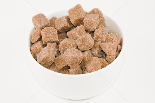 Azúcar moreno tazón completo cubos alimentos luz Foto stock © disorderly