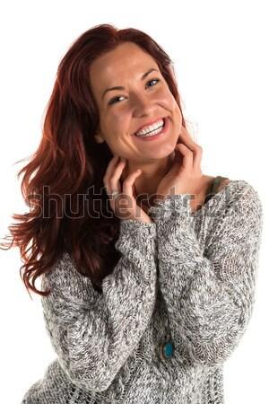 Szürke pulóver csinos nő lány női Stock fotó © disorderly