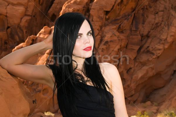 Cheveux noirs belle jeunes noir femme rouge Photo stock © disorderly