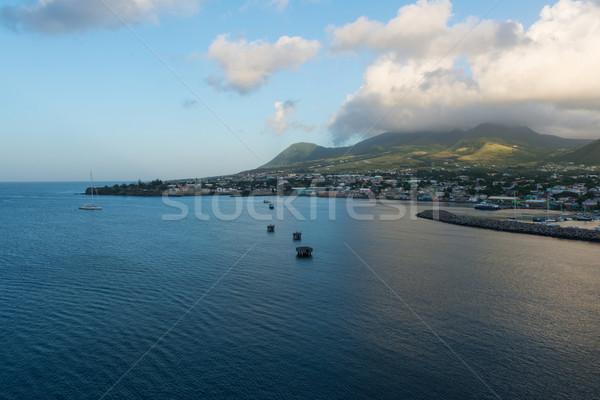 Reggel felhők tenger trópusi dombok Karib Stock fotó © disorderly