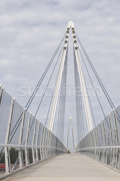 Puente peatonal cable suspensión nublado cielo torre Foto stock © disorderly