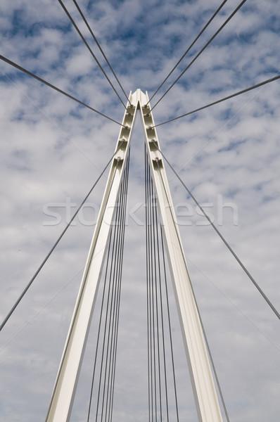 Kładka kabel zawieszenie wieża mętny niebo Zdjęcia stock © disorderly