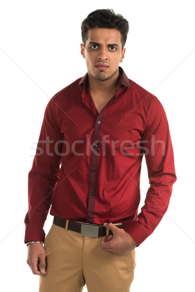 Agressivo homem bonito jovem indiano beleza Foto stock © disorderly