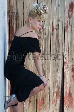 Bastante jóvenes negro sujetador pantalones nina Foto stock © disorderly