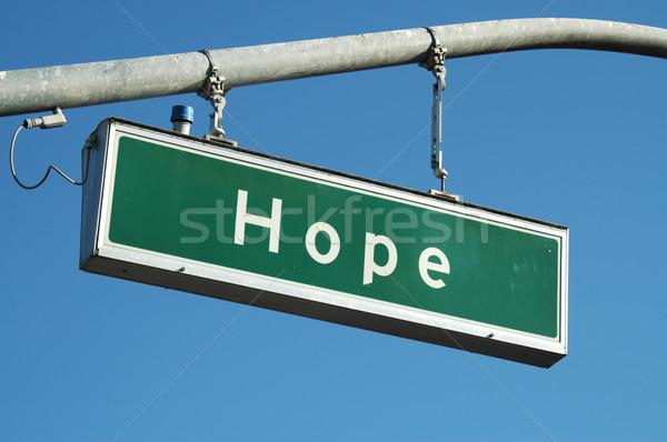 Umut imzalamak sokak işareti sokak Hristiyan kutup Stok fotoğraf © disorderly