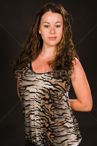 Güneş yanığı güzel genç esmer kız Stok fotoğraf © disorderly
