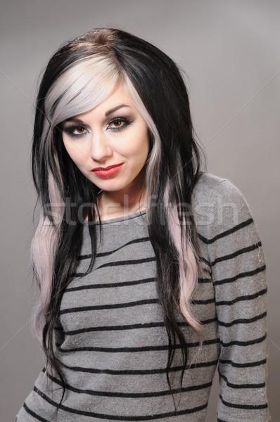 Goth kız güzel saç çizgili kazak Stok fotoğraf © disorderly