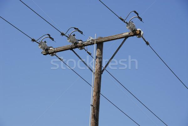 Távvezeték nagyfeszültség erő elektromos drótok veszély Stock fotó © disorderly