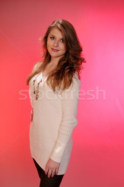 Adolescente bella bianco maglione ragazza capelli Foto d'archivio © disorderly